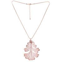 Колье Ester Bijoux с листом дуба в розовом золоте, фото