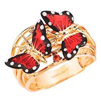 Кольцо Roberto Bravo Monarch Butterfly с красными бабочками , фото