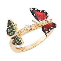 Кольцо Roberto Bravo Monarch Butterfly с бриллиантами и сапфирами, фото