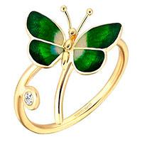 Кольцо Roberto Bravo Noah's Ark с зеленой бабочкой , фото