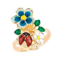 Кольцо Roberto Bravo Noah's Ark золотое с цветами , фото