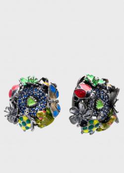 Серьги Roberto Bravo Night с цветами и бабочками, фото
