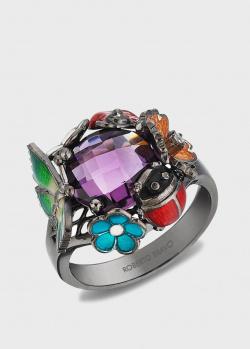Кольцо Roberto Bravo Night с цветами и бабочками, фото