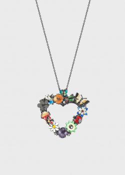 Колье Roberto Bravo Night в форме сердечка с цветами, фото