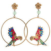 Серьги Misis Jungle Tiara с попугаями на кольцах, фото