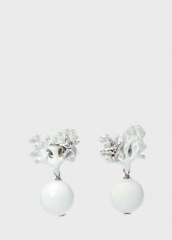 Серьги-подвески Misis с белыми шарами, фото