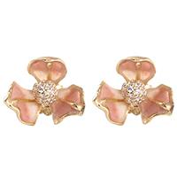 Серьги-гвоздики Misis Gemina в форме цветка ириса розового цвета, фото