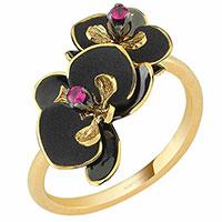Кольцо Roberto Bravo Black Orchid с цветком , фото