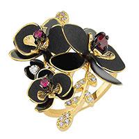 Кольцо Roberto Bravo Black Orchid с черным цветком , фото