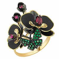 Кольцо Roberto Bravo Black Orchid с цветком и бабочкой , фото
