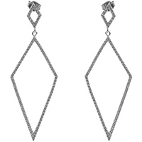 Серебряные серьги Marcello Pane ромб с цирконами, фото