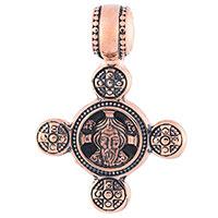 Золотой крестик Ангел Хранитель с чернением, фото
