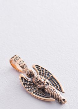 Золотая подвеска Ангел Хранитель с чернением, фото