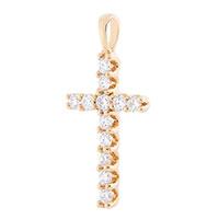 Крестик с бриллиантами из желтого золота, фото
