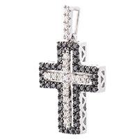 Крестик с черными и белыми бриллиантами, фото