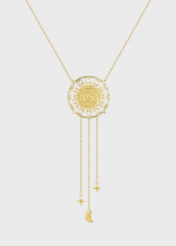 Золотое колье Art Vivace Jewelry Солнце с желтыми бриллиантами, фото