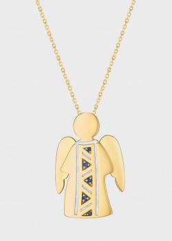 Подвеска с цепочкой Art Vivace Jewelry Ангел с сапфирами, фото
