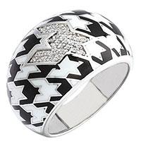 Серебряное кольцо 935 by Roberto Bravo покрытое черной и белой эмалью, фото