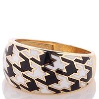 Широкое кольцо Roberto Bravo Pied De Poule с монохромным орнаментом гусиная лапка, фото