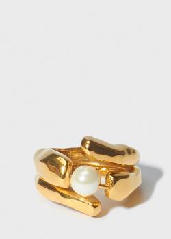 Двойное кольцо Misho Pandaia с жемчужиной, фото
