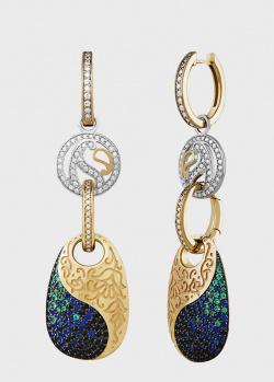 Серьги-трансформеры Art Vivace Jewelry Pari&Shah с изумрудами и бриллиантами, фото