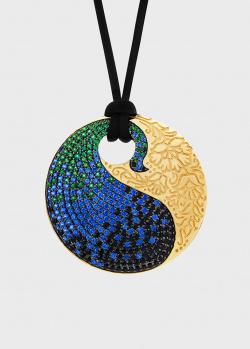 Круглый кулон Art Vivace Jewelry Pari&Shah Павлин с черными бриллиантами, фото