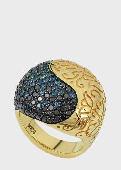 Массивный перстень Art Vivace Jewelry Pari&Shah с изумрудами и сапфирами, фото