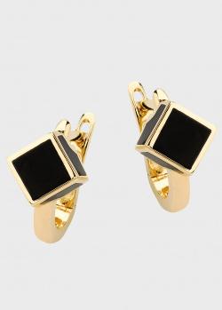 Золотые серьги Roberto Bravo Qube-N со вставками черной эмали, фото