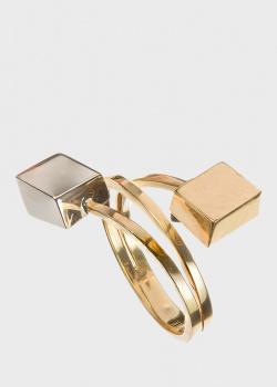 Двойное кольцо Roberto Bravo Qube с кубами, фото