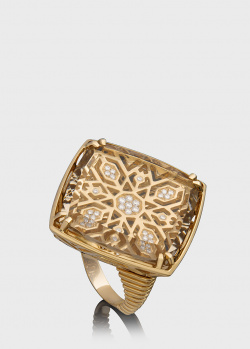 Золотой перстень Art Vivace Jewelry с винным топазом, фото