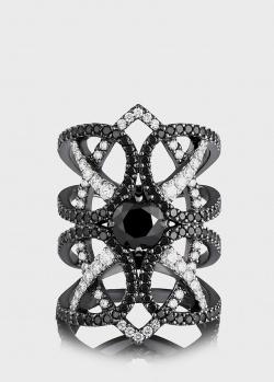 Широкое кольцо Art Vivace Jewelry Магия с черными бриллиантами, фото
