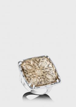 Перстень из белого золота Art Vivace Jewelry Звезда Милады с раух-топазом, фото