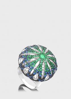 Перстень из белого золота Art Vivace Jewelry Paris с сапфирами и изумрудами, фото