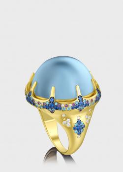 Золотой перстень Art Vivace Jewelry Море с аквамарином, фото