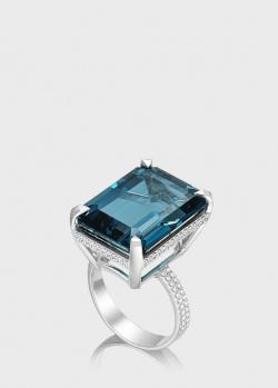 Перстень из белого золота Art Vivace Jewelry Ice Blue с топазом, фото