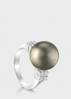 Кольцо из белого золота Art Vivace Jewelry с черным жемчугом, фото
