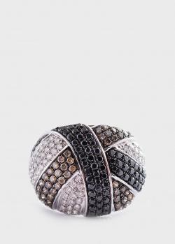 Золотое кольцо с белыми, черными и коричневыми бриллиантами, фото