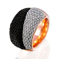 Широкий перстень Adami & Martucci с серебряной тканью, фото