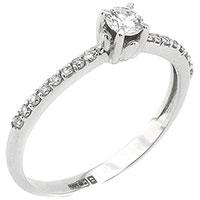 Кольцо с бриллиантовой дорожкой из белого золота, фото