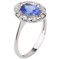 Золотое кольцо с танзанитом и бриллиантами, фото