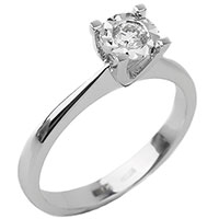 Кольцо с белым бриллиантом из золота, фото