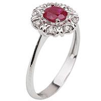 Кольцо из белого золота с рубином, фото