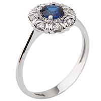 Кольцо из золота с бриллиантами и синим сапфиром, фото