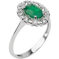 Золотое кольцо с крупным изумрудом и бриллиантами, фото