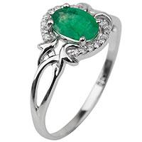 Золотое кольцо с зеленым изумрудом, фото