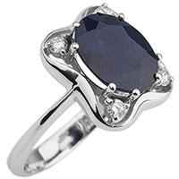 Кольцо с крупным сапфиром и бриллиантами из золота, фото