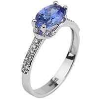 Золотое кольцо с синим танзанитом, фото