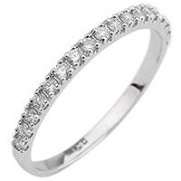 Кольцо из белого золота с бриллиантовой дорожкой, фото