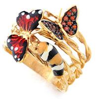 Кольцо Roberto Bravo Monarch Butterflies золотое с бриллиантом и гранатами, фото