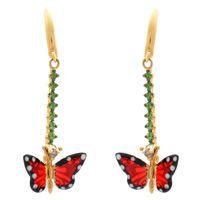 Серьги Roberto Bravo Monarch Butterflies длинные золотые с редкими зелеными гранатами и бриллиантами, фото